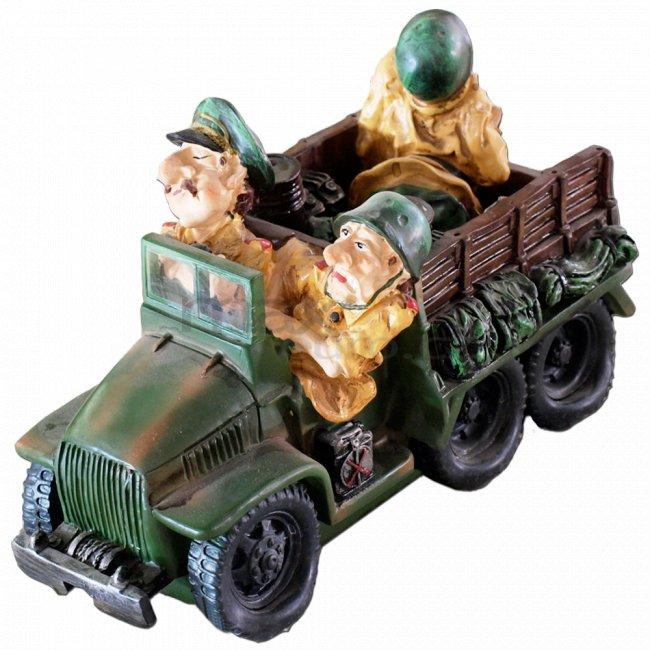 Pokladnička vojenský jeep a 3 vojáci pokladnička vojenský jeep