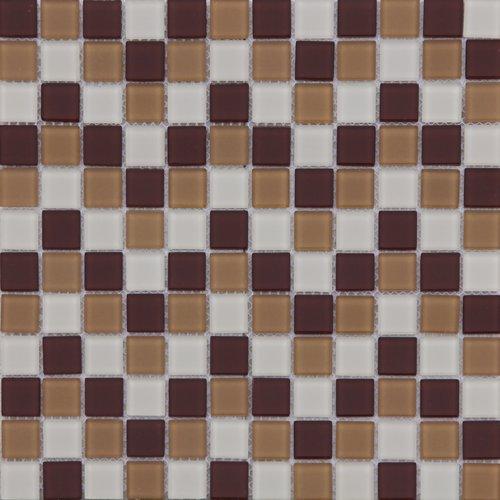 Maxwhite  ASHS229 Mozaika skleněná hnědá tmavá hnědá světlá krémová 29,7x29,7cm sklo