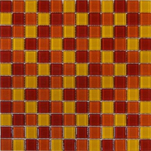 Maxwhite ASHS202 Mozaika skleněná červená žlutá oranžová 29,7x29,7cm sklo