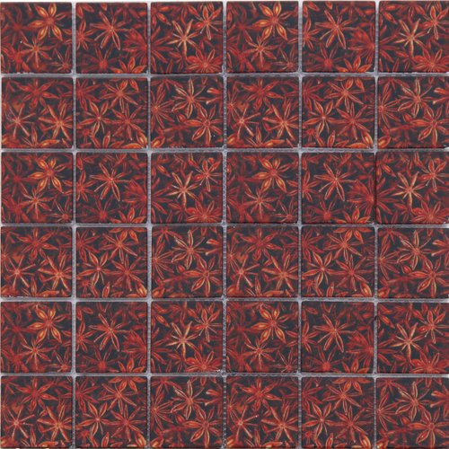 Maxwhite ASCH008 Mozaika skleněná hnědá oranžová s dekorem 29,7x29,7cm sklo