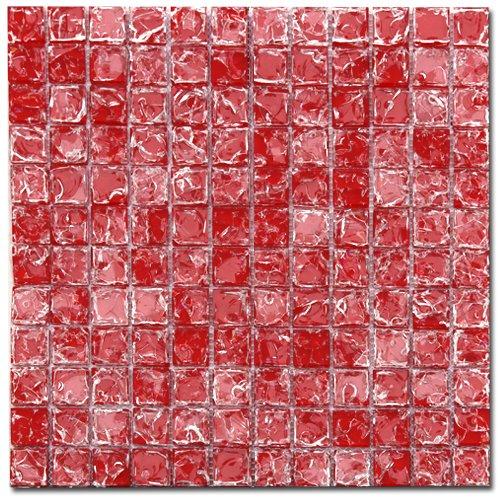 Maxwhite ASBHH16 Mozaika skleněná červená s efektem popraskaného skla 29,7x29,7cm sklo