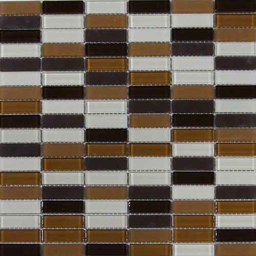 Maxwhite  ASHS4M-1 Mozaika skleněná hnědá tmavě hnědá krémová 29,7x29,7cm sklo
