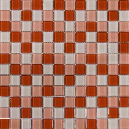 Maxwhite H11 plus H13 plus H15 Mozaika skleněná červená světlá růžová krémová 29,7x29,7cm sklo