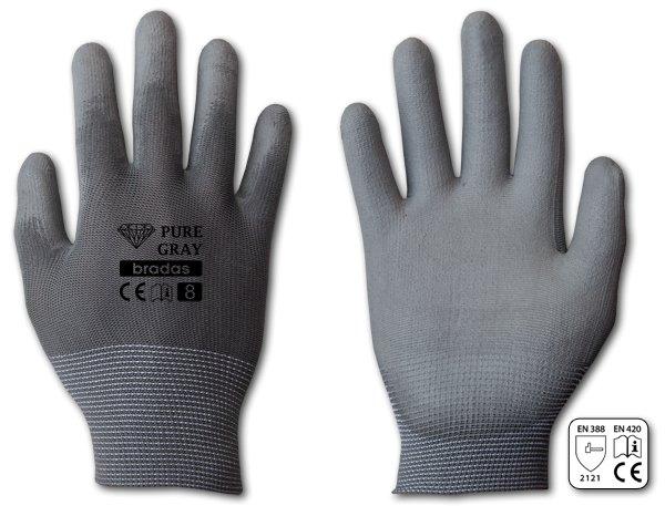 Rukavice pracovní polyuretan Pure gray vel.9