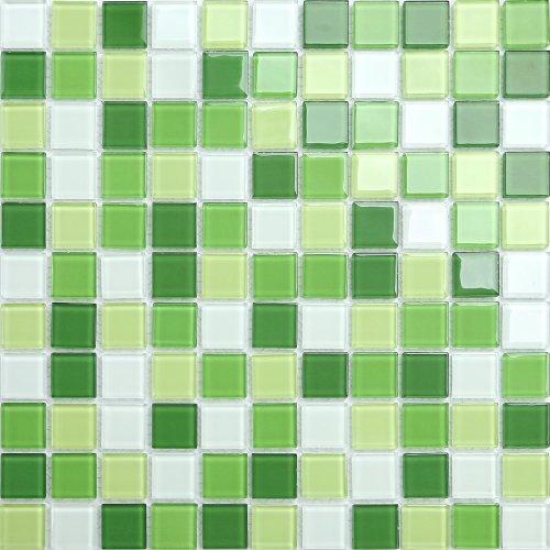 Maxwhite CH4004PM Mozaika skleněná zelená bílá 30x30cm sklo
