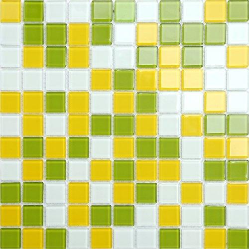 Maxwhite CH4005PM Mozaika skleněná žlutá zelená bílá 30x30cm sklo
