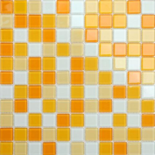Maxwhite CH4006PM Mozaika skleněná bílá žlutá oranžová 30x30cm sklo