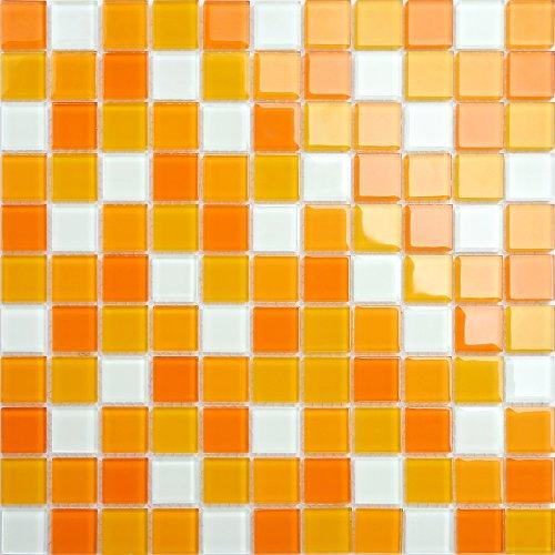 Maxwhite CH4008PM Mozaika skleněná bílá oranžová 30x30cm sklo