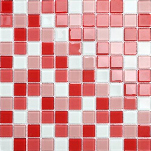 Maxwhite CH4009PM Mozaika skleněná bílá červená růžová 30x30cm sklo