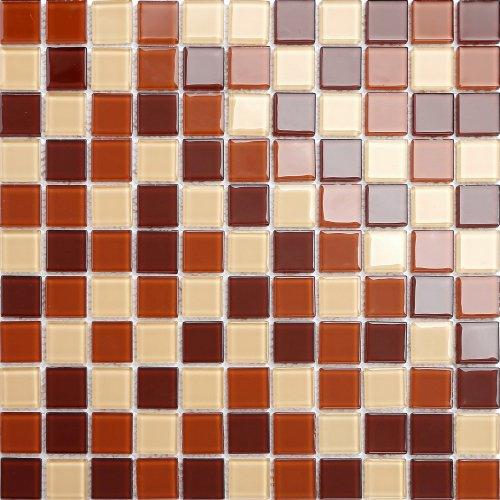 Maxwhite CH4017PM Mozaika skleněná hnědá cappuccino latte hnědá čokoláda 30x30cm sklo
