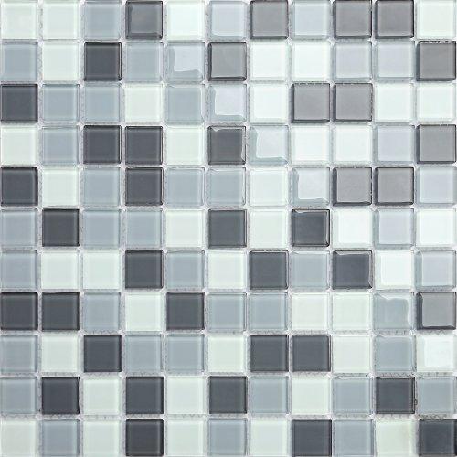Maxwhite CH4018PM Mozaika skleněná šedá bílá 30x30cm sklo