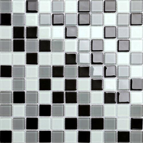 Maxwhite CH4019PM Mozaika skleněná černá šedá bílá 30x30cm sklo