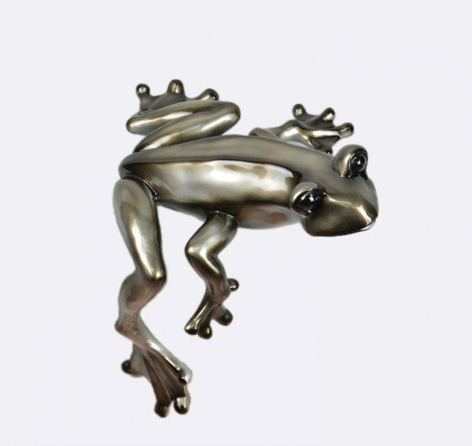 Maxwhite Socha Žába sedící stříbrná 38 x 36 x 46cm