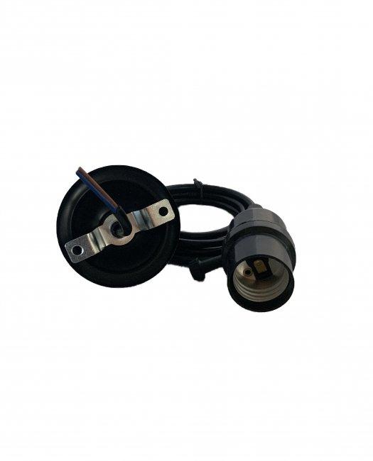Max Kabel s objímkou na světlo E27 Černý plast