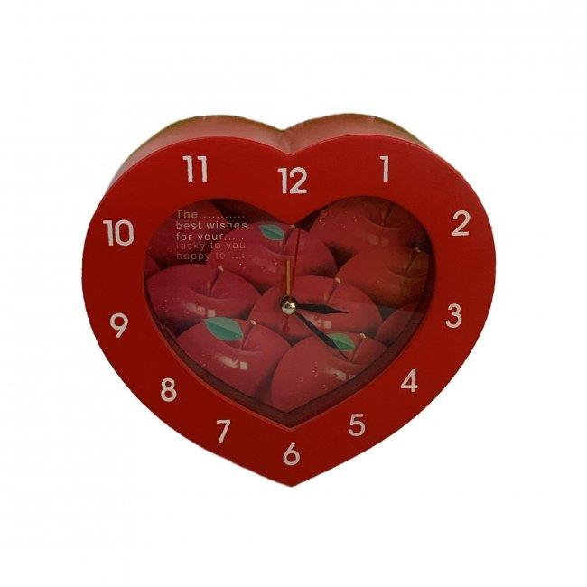 Budík HRT01 srdce červené