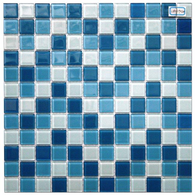 Maxwhite L18+L19+L20 Mozaika skleněná modrá bílá modrá světlá 29,7x29,7cm sklo
