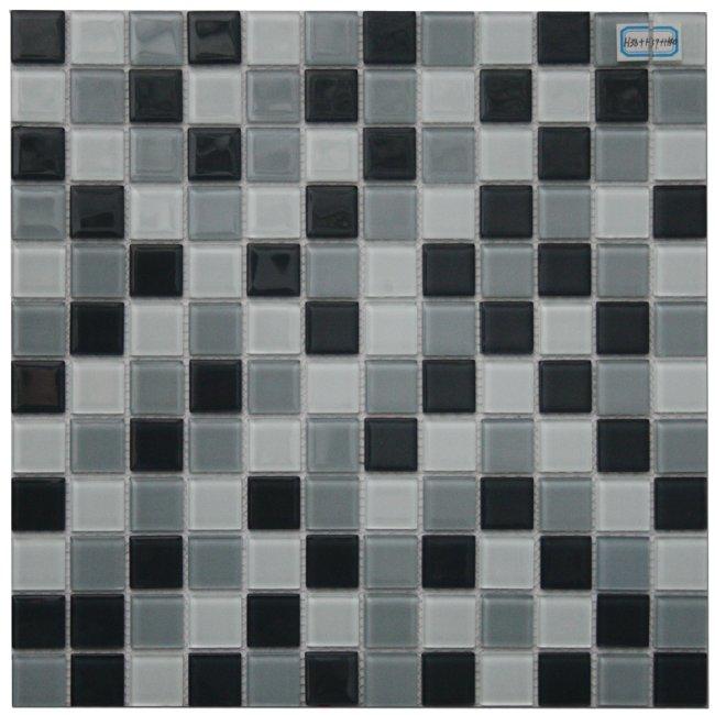 Maxwhite H38+H39+H40 Mozaika skleněná šedá světlá šedá tmavá černá 29,7x29,7cm sklo