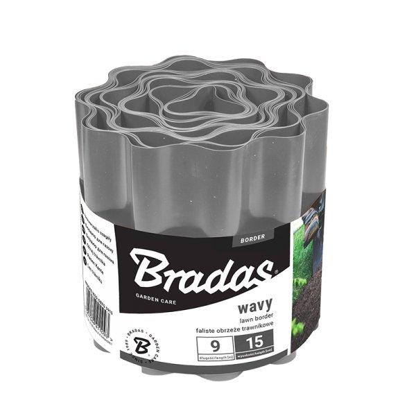 Bradas Plastový okraj trávníku OBFG0915 15cmx9m šedá