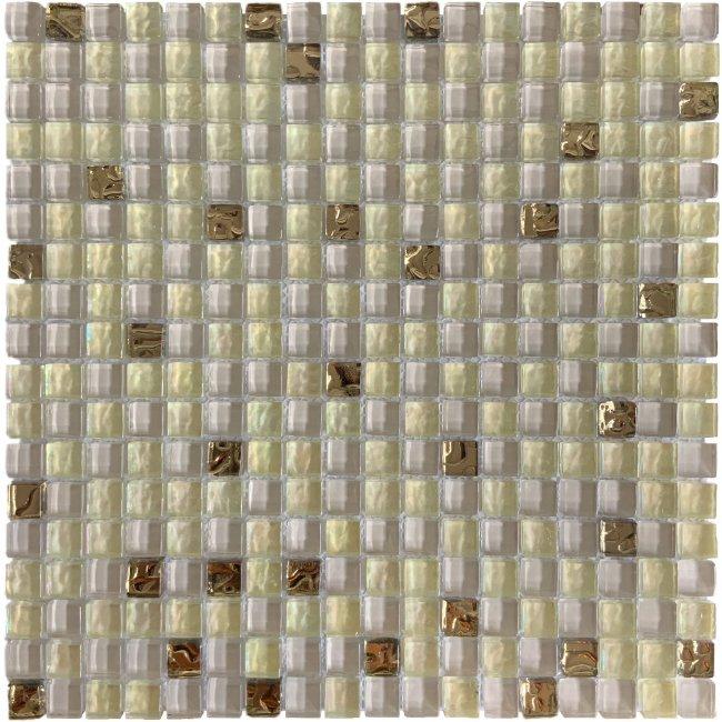 Maxwhite DTH16 Mozaika skleněná bílá zlatá 30x30cm sklo