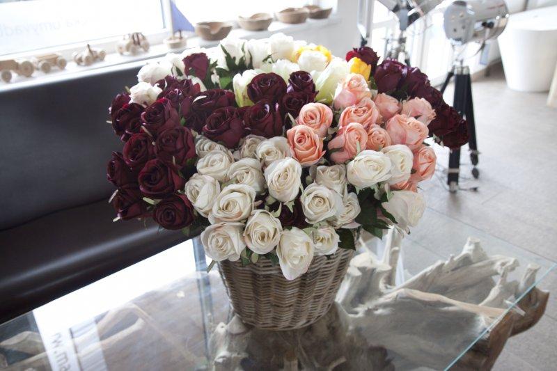 Max Umělá květina růže bílá 70cm