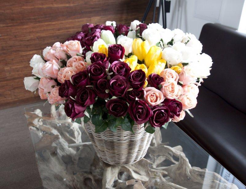Max Umělá květina růže rudá - červená 70cm