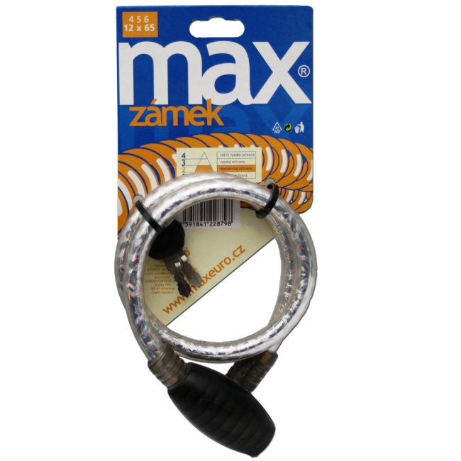 Max 456 Zámek na kolo 12 x 650 mm stříbrný