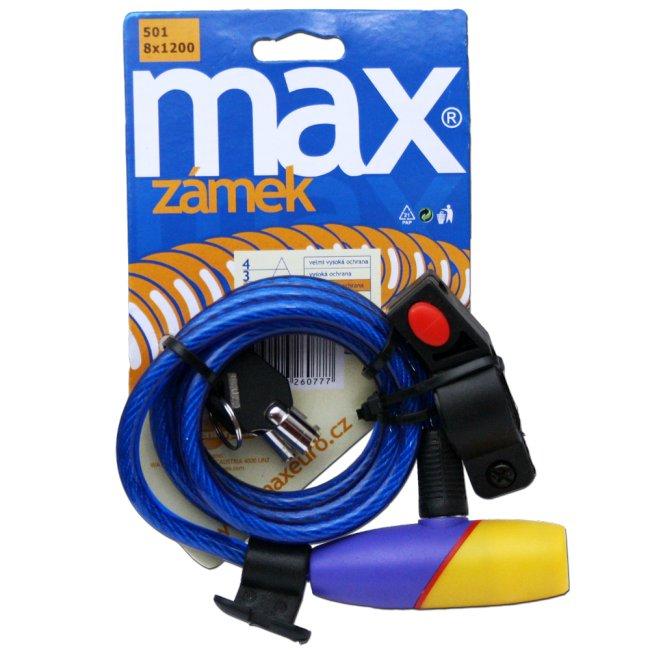 Max 014736 Zámek na kolo 8 x 1200 mm modrý