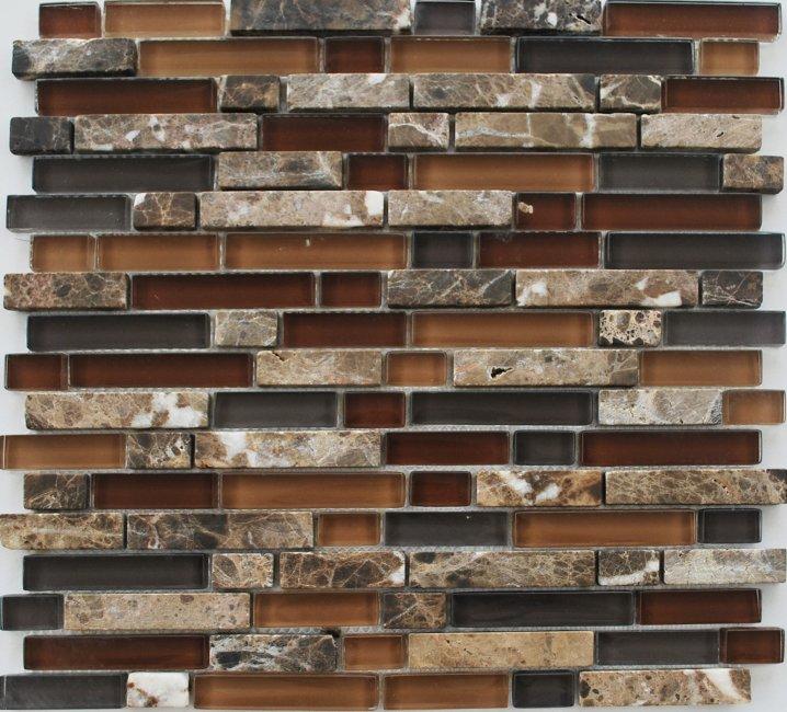 Maxwhite JSM-JS100 Mozaika skleněná kamenná hnědá 30x30cm sklo kámen
