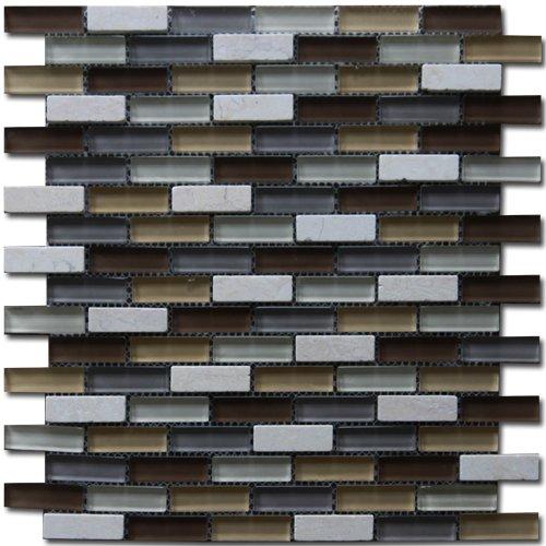 Maxwhite JSM-JS101 Mozaika skleněná kamenná hnědá okrová béžová 30x30cm sklo kámen