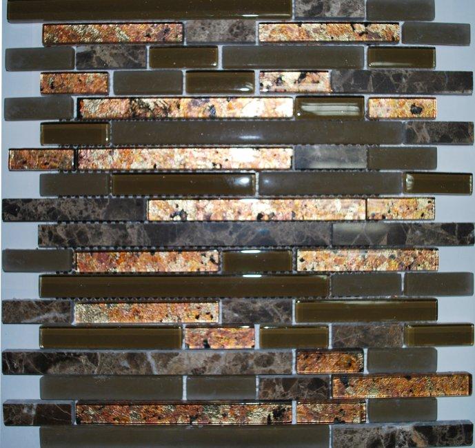 Maxwhite JSM-JB044 Mozaika skleněná kamenná zelená hnědá 30x30cm sklo kámen