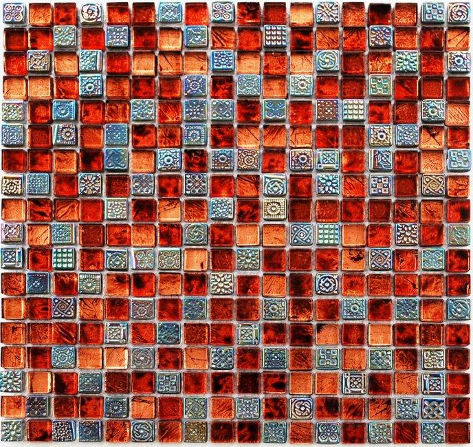 Maxwhite JSM-JB011 Mozaika skleněná červená oranžová ocelová 29,7x29,7cm sklo