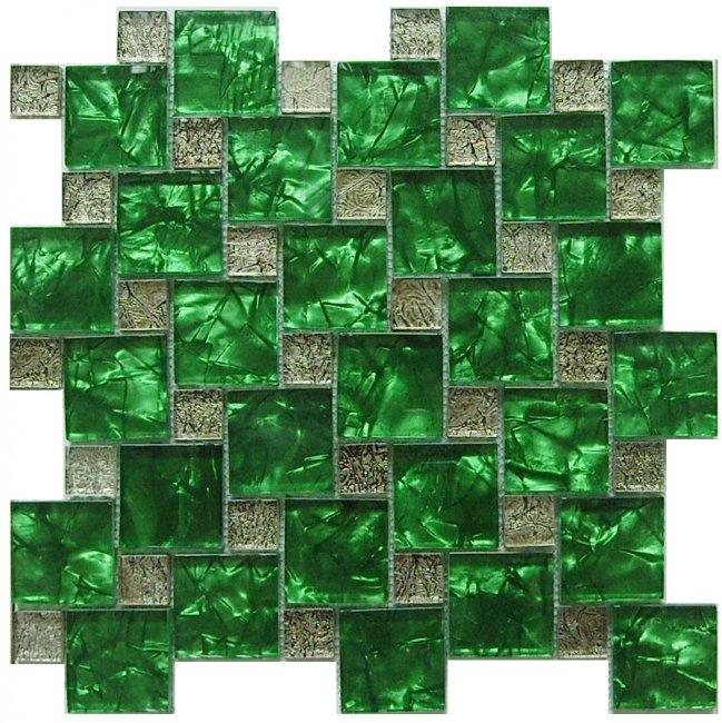 Maxwhite JSM-JC003 Mozaika skleněná zelená stříbrná 30x30cm sklo