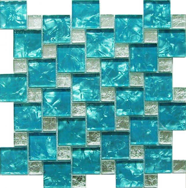 Maxwhite JSM-JC004 Mozaika skleněná modrá stříbrná 30x30cm sklo