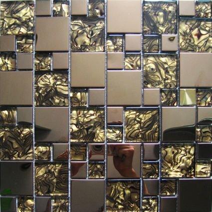 Maxwhite JSM-JC013 Mozaika skleněná nerez bronzová hnědá 29,7x29,7cm kovová metal
