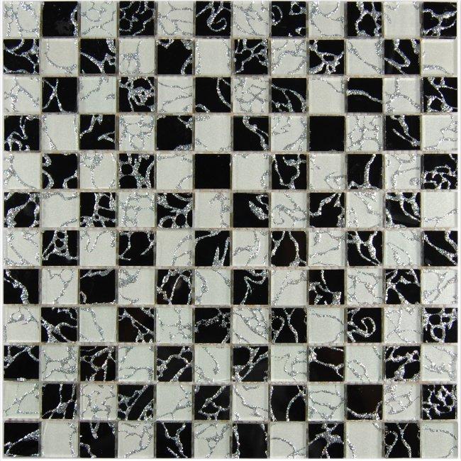 Maxwhite JSM-JL041Y Mozaika skleněná šachovnice bílá černá 29,7x29,7cm sklo