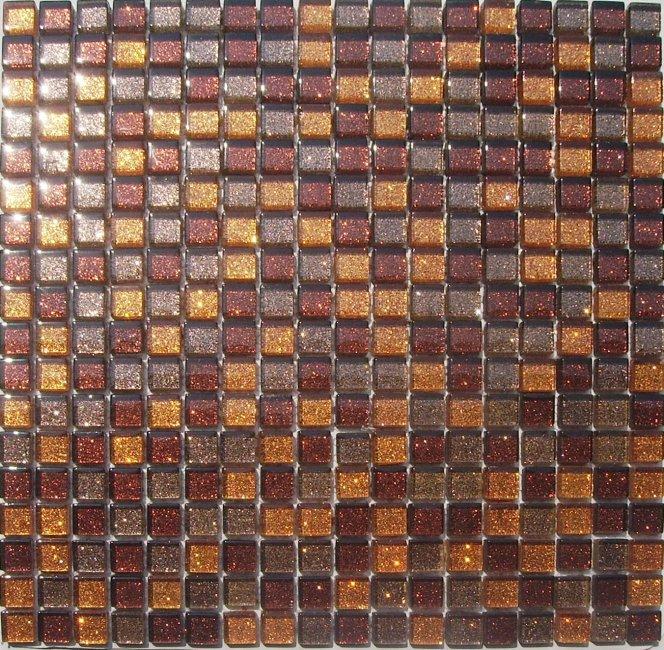 Maxwhite JSM-ZL010 Mozaika skleněná perleť oranžová hnědá 29,7x29,7cm sklo