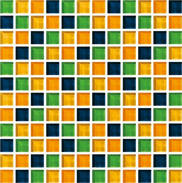 Maxwhite CH4032 Mozaika skleněná žlutá modrá zelená 30x30cm sklo