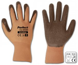 Rukavice pracovní hnědé polyester Latex vel.10