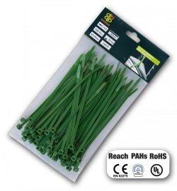 Bradas TS1236100G Stahovací pásky 3,6x100mm zelené 100ks