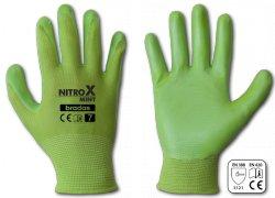 Rukavice pracovní Nitrox polyester mint nitryl vel.8