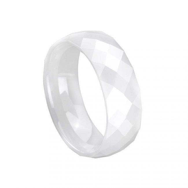 Prsten keramický - velikost 7,5 - bílý HMCCRW033