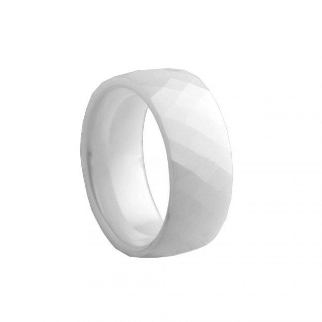 Prsten keramický - velikost 8 - bílý HMCCRW045
