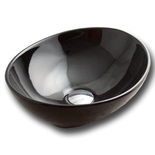 Maxwhite 8002black Corno Umyvadlo keramické oválné na desku černé 40,5x33x14,5cm