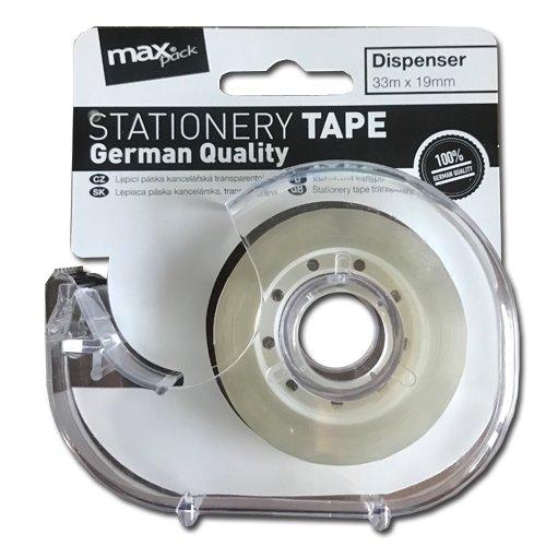Maxpack páska kancelářská s odvíječem 19mm x 33m transparentní