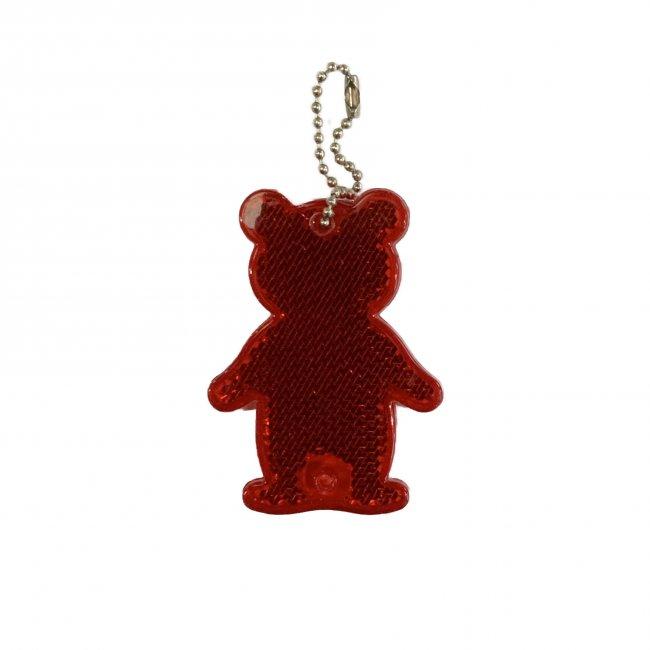 Reflexní přívěsek bezpečnostní Medvěd červený
